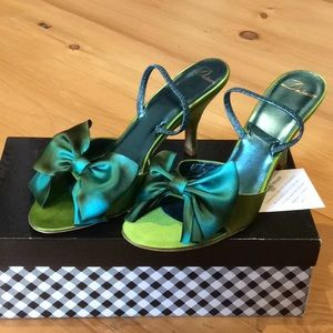Delman green satin bow sandal